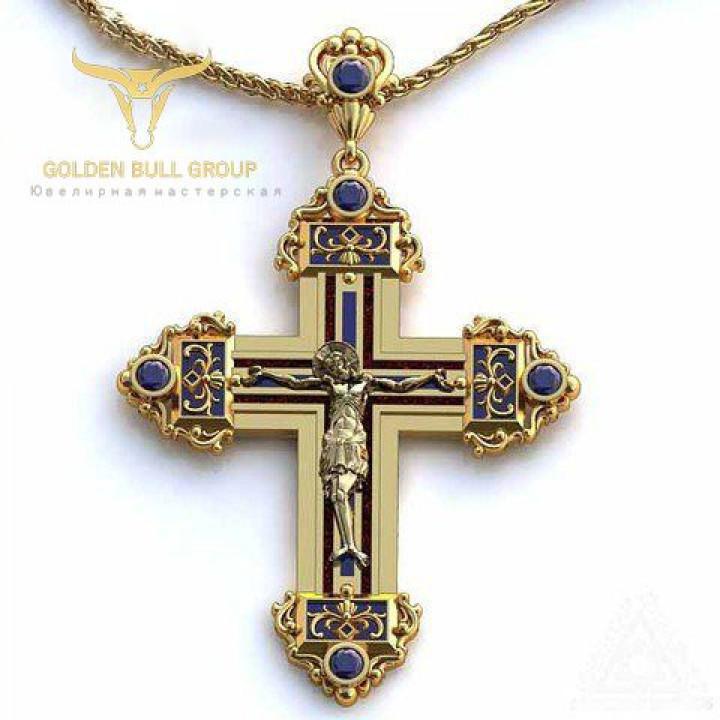 """Купить крест православный """"небесный посланник"""" с сапфирами и."""